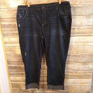 Lane Bryant Distressed Crop Straight Leg Jean 26
